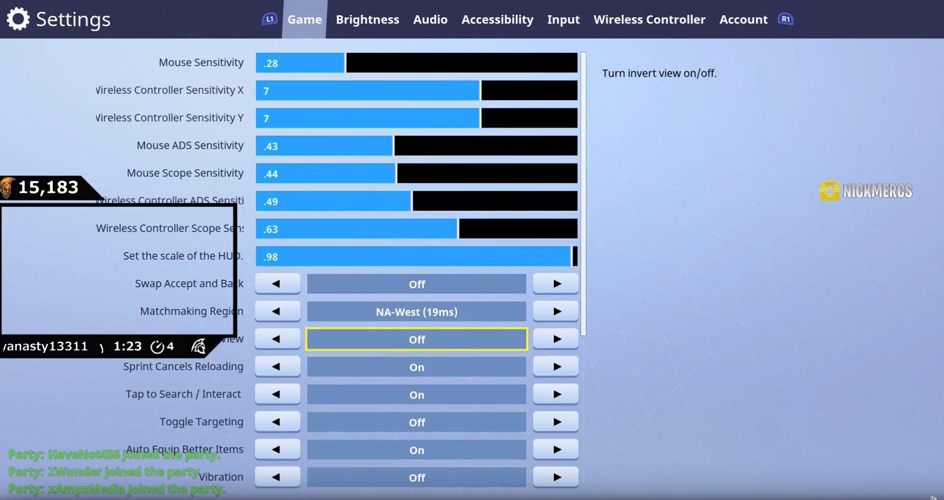Nickmercs Fortnite Settings Keybinds Gear Sensitivity 2019