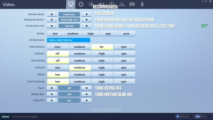 Recommended Fortnite Video Settings