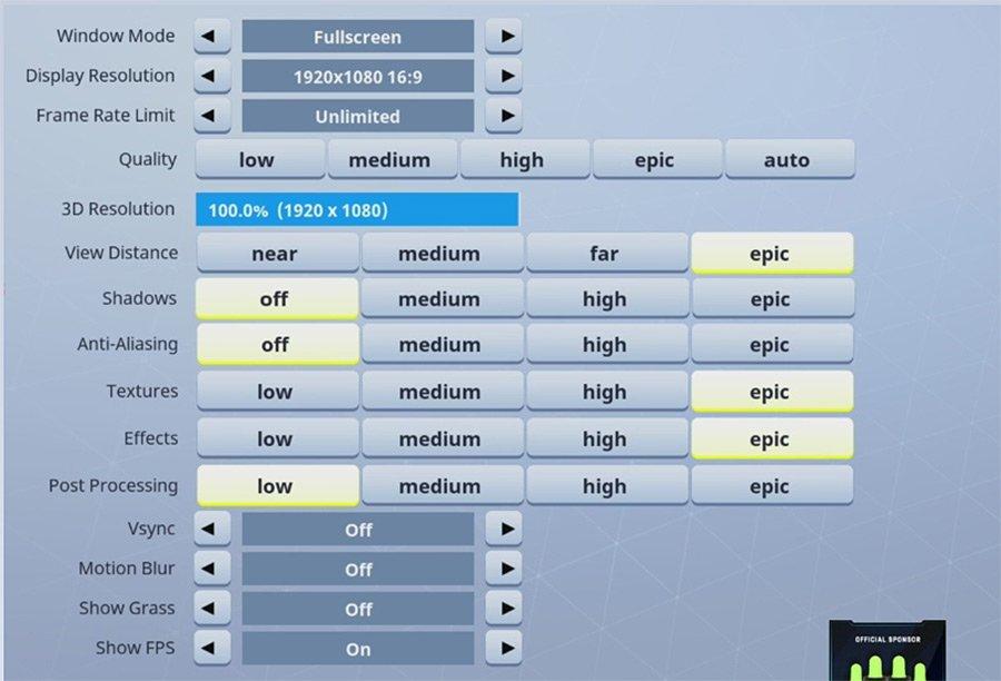 ninja fortnite graphics settings - configuraciones de fortnite xbox one