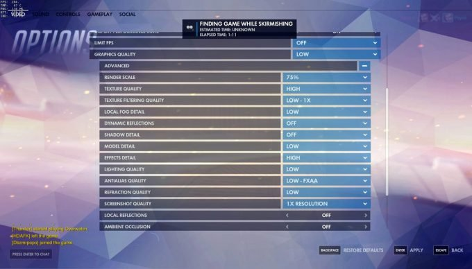 Taimou graphics settings